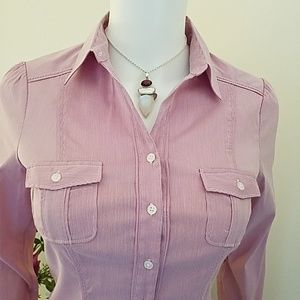 WHBM Ladies Pinstripped Shirttail Blouse